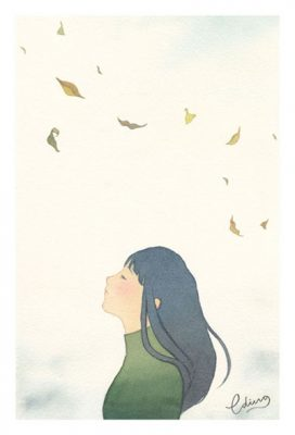 Feeling peaceful - slow living collection Watercolor painting by Eding Illustration