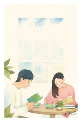 Quality time with loved ones - slow living collection Watercolor painting by Eding Illustration